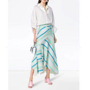 Peter Pilotto Striped Asymmetric Jersey Midi Skirt